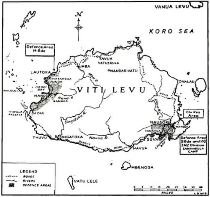 nz oh 09 pacific chapter 2 the fiji garrison Fiji Attractions cunningham s plan of two defended zones on the island of viti levu in fiji