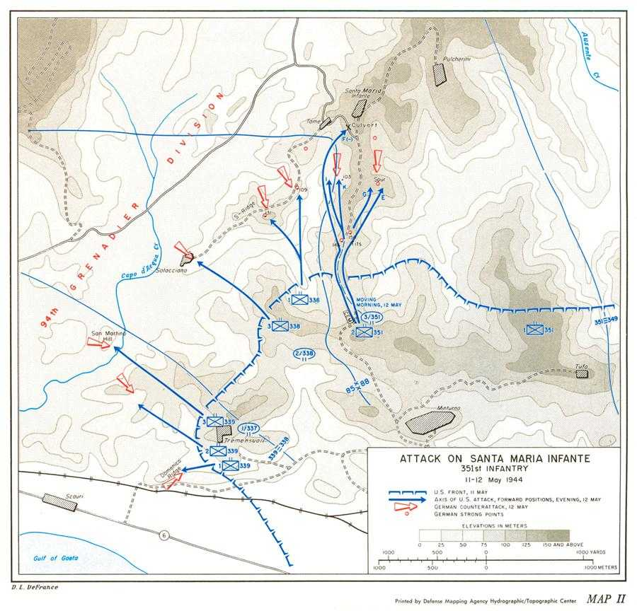 Map Ii Attack On Santa Maria Infante 351st Infantry 11 12 May