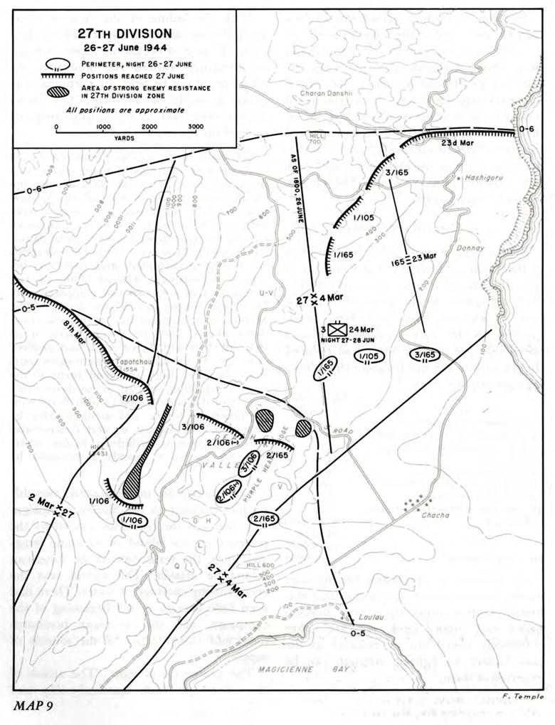 us army pto 07 marianas chapter 11 the fight for central saipan ii Schofield Barracks 25 Infantry Division map 9 27th division 26 27 june 1944