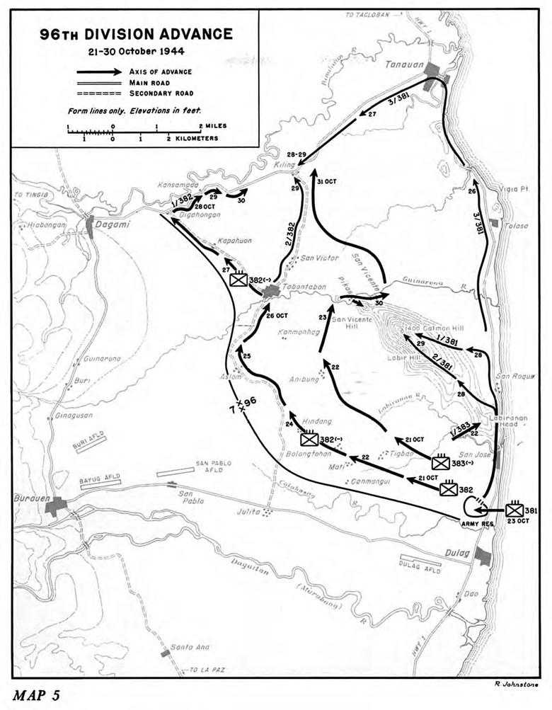 us army pto 09 return to philippines chapter 7 southern leyte 102nd Division Leadership map 5 96th division advance 21 30 october 1944