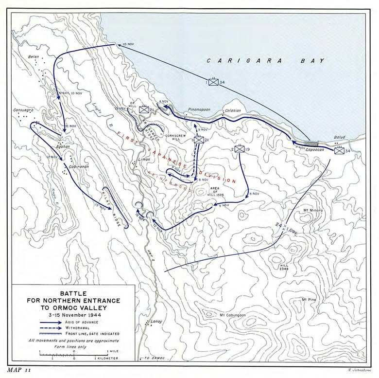 us army pto 09 return to philippines chapter 12 the mountain 102nd Combat Engineers map 11 battle for northern entrance to ormoc valley 3 15 november 1944