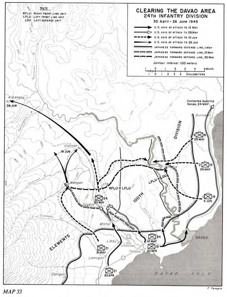 us army pto 10 triumph chapter 32 the conquest of eastern mindanao U.S. Navy Infantry map 33 clearing the davao area 24th infantry division 30 april 26