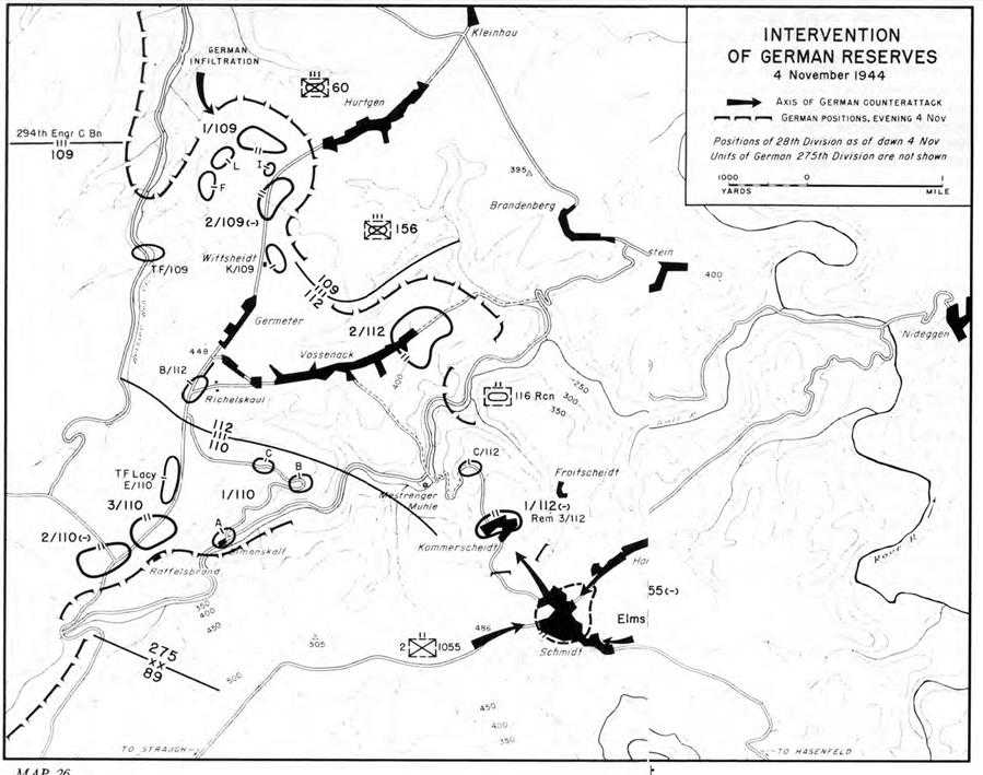 us army ss 07 three battles chapter 3 action at schmidt 4 november 24th Infantry Regiment map 26 intervention of german reserves 4 november 1944