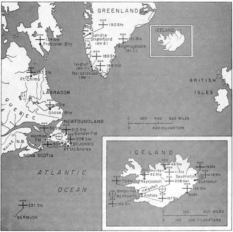 Map 1 U S Army Hospitals Supporting North Atlantic Bases 1 June 1943