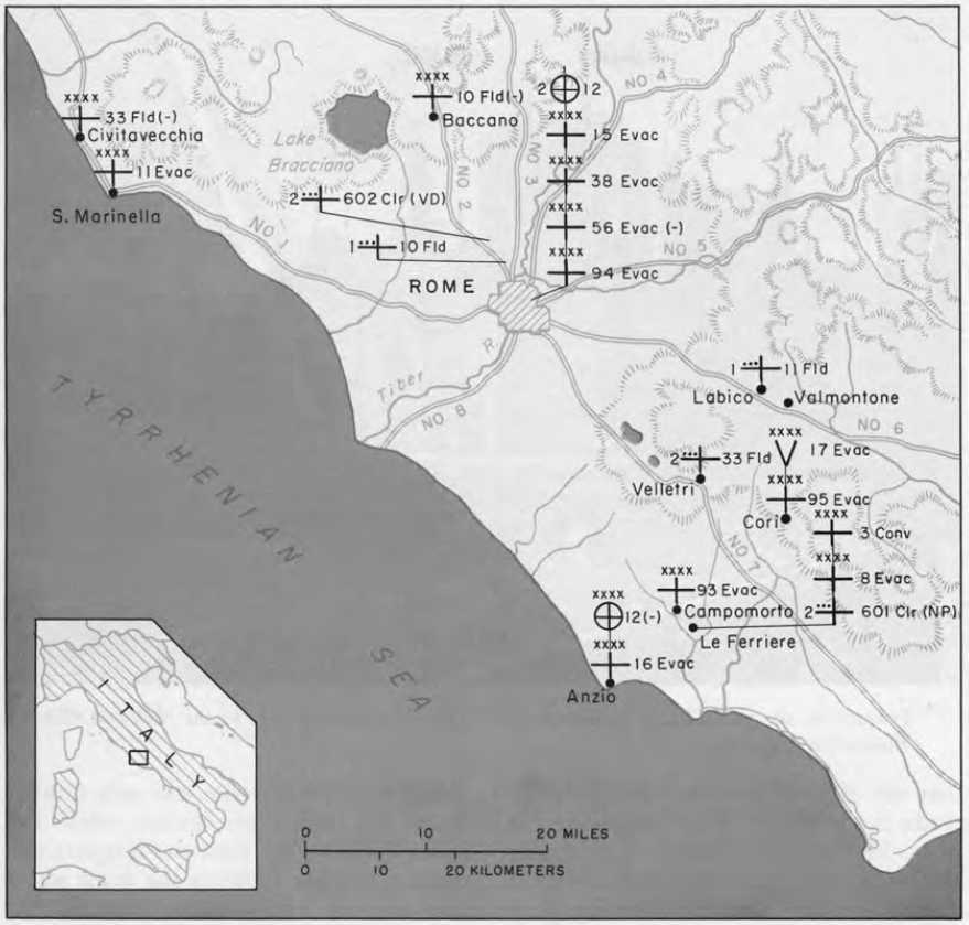 Map 26 Fifth Army Hospitals And Medical Supply Dumps 10 June 1944