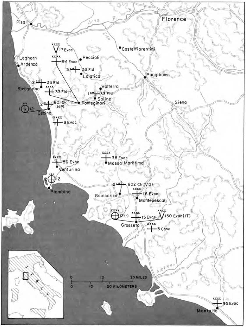 Map 27 Fifth Army Hospitals And Medical Supply Dumps 15 July 1944