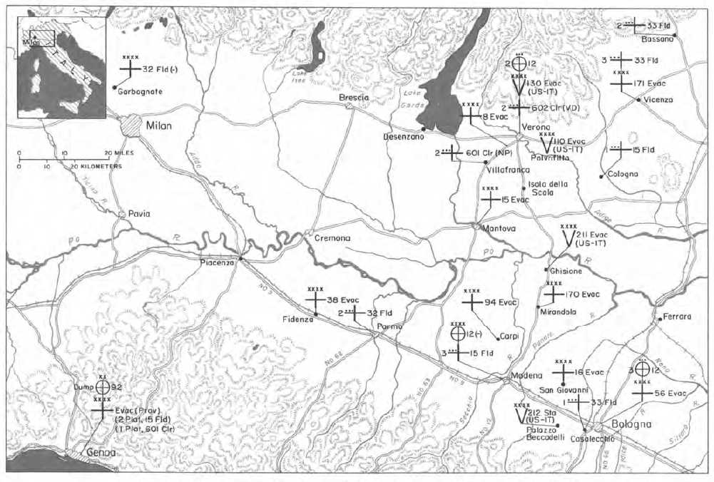 Map 41 Fifth Army Hospitals And Medical Supply Dumps 2 May 1945